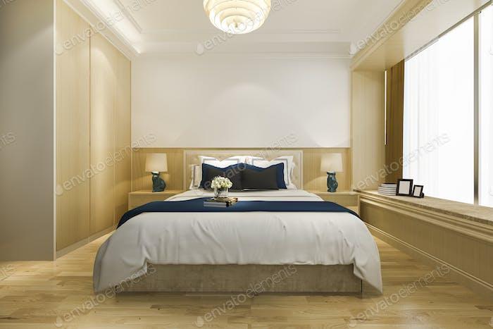 3d rendering vintage minimal bedroom suite in hotel with tv