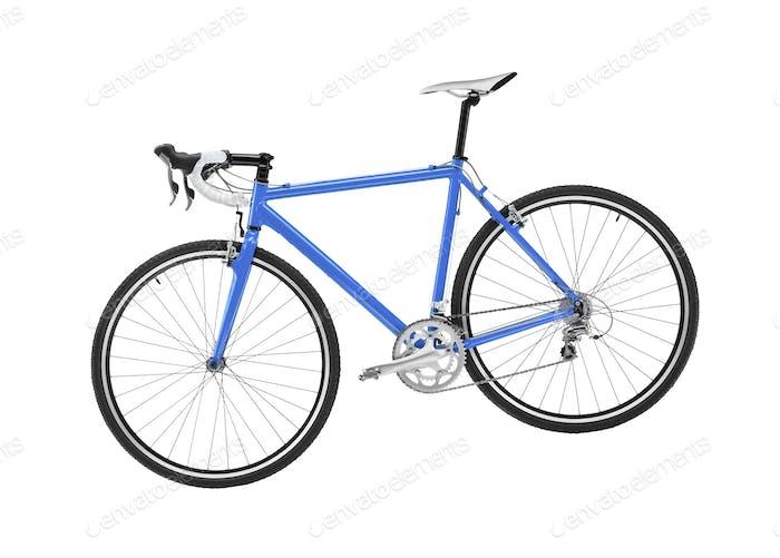 blaues Sportrad auf weißem Hintergrund