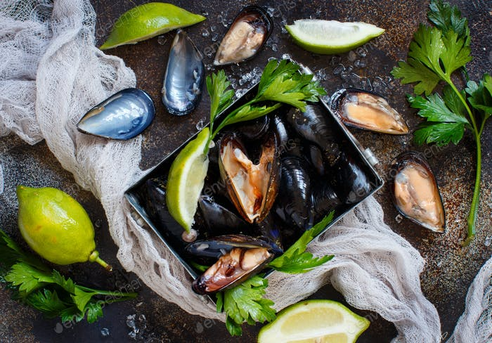 Fresh raw  mussels