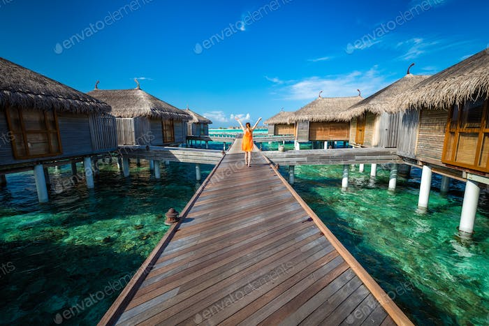 Maldivian resort with cabins on water