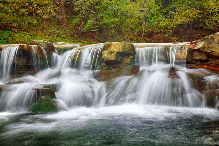 rapid mountain river in autumn