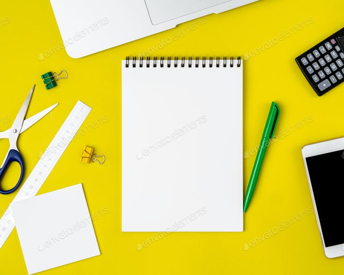 Modern creative bright yellow office desk