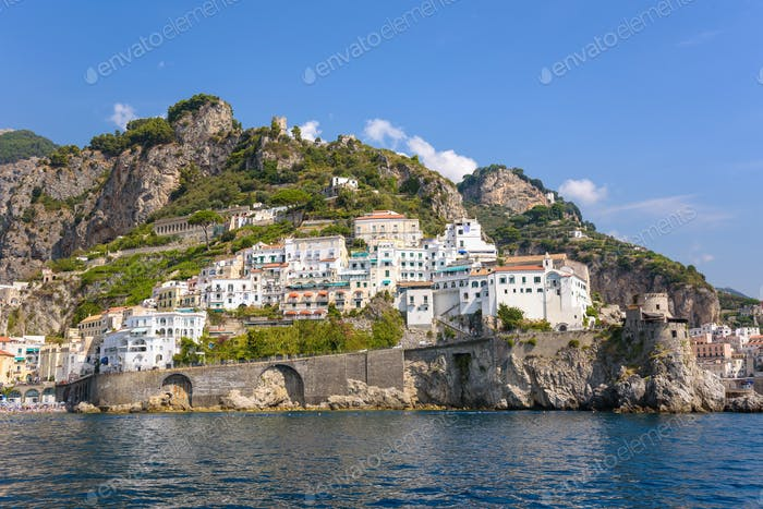 Architecture of Amalfi town in Italy