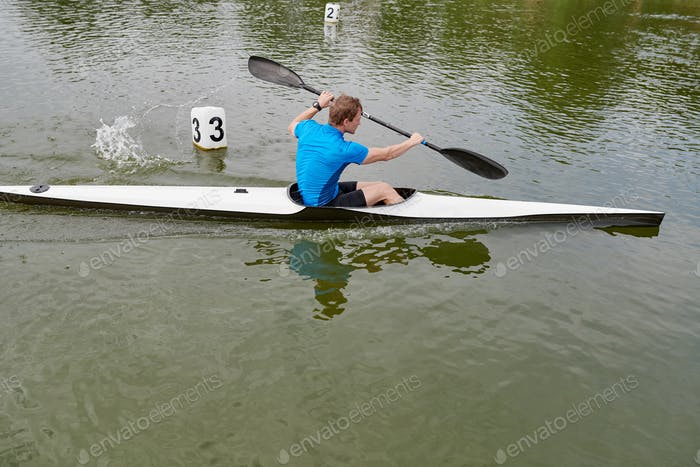 Competing in water sports