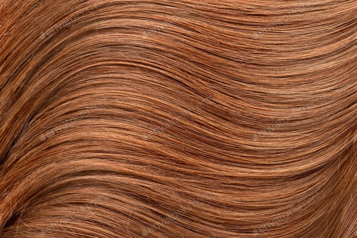 Long red human shiny hair