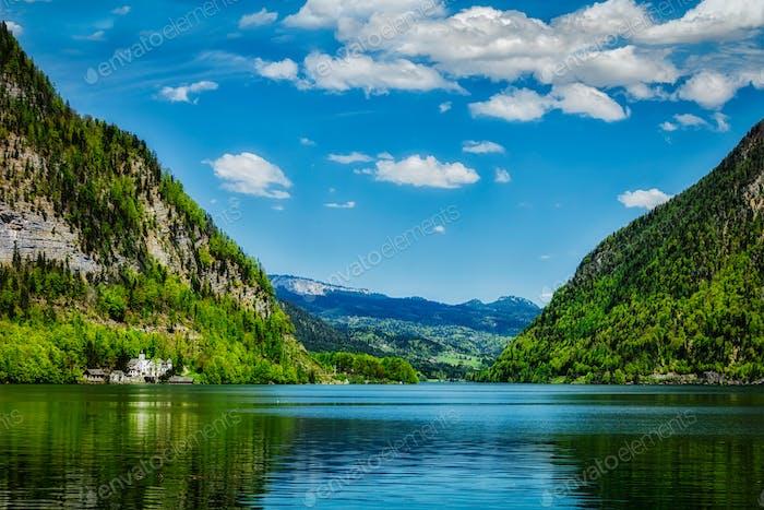 Hallstatter See mountain lake in Austria