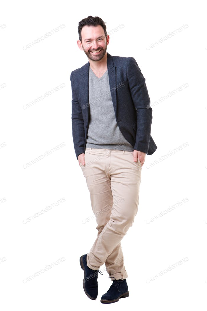 Full body handsome man with beard posing against white background