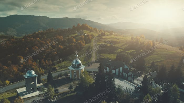 Highland church mountain village scenery aerial view