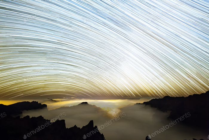 Milkyway Star Trails Above La Palma Caldera