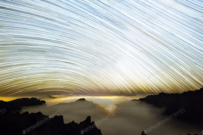 Milkyway Star Trails über La Palma Caldera