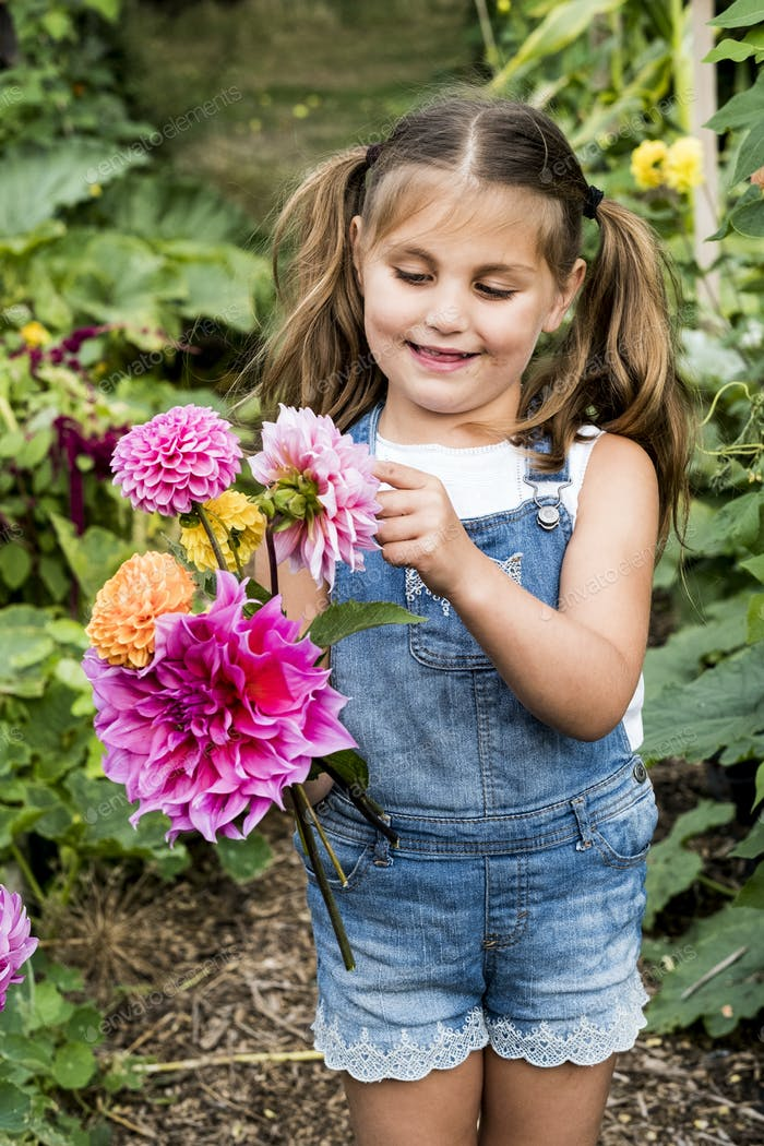 Girl wearing denim dungarees standing in a garden, holding pink Dahlias.