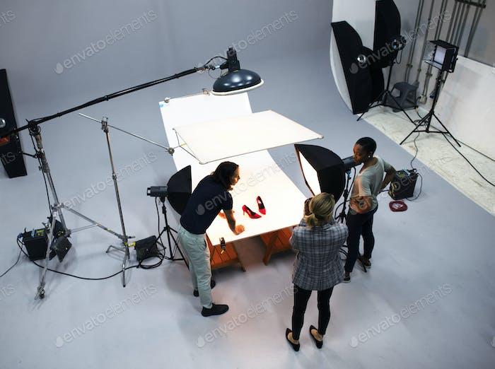 Sesión fotográfica de productos de zapatos