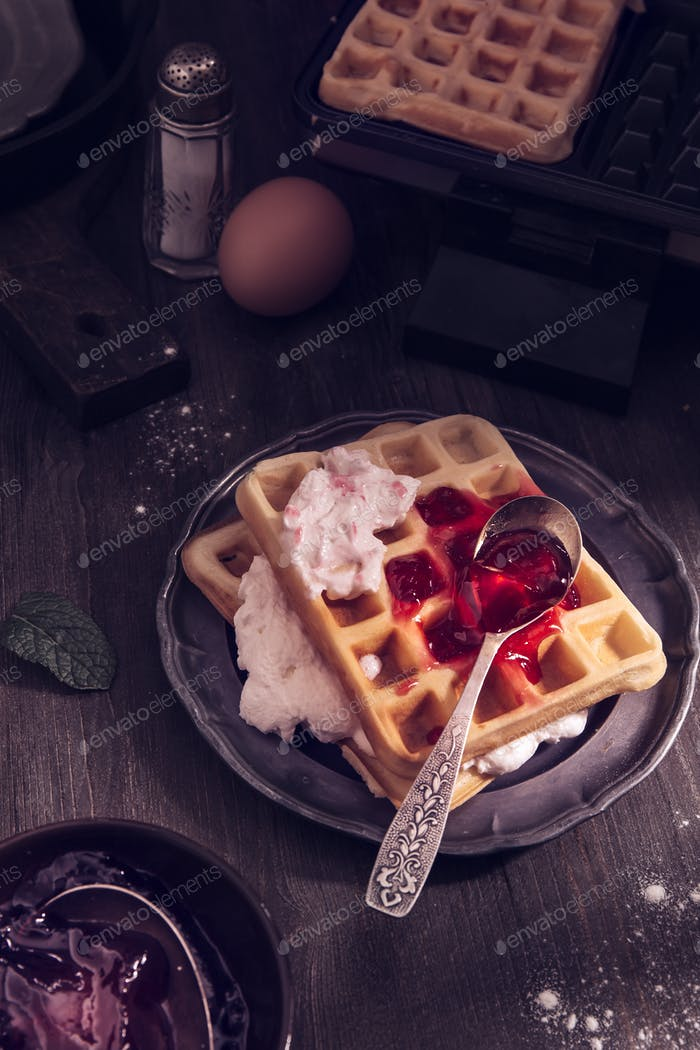 Waffles with whipping cream