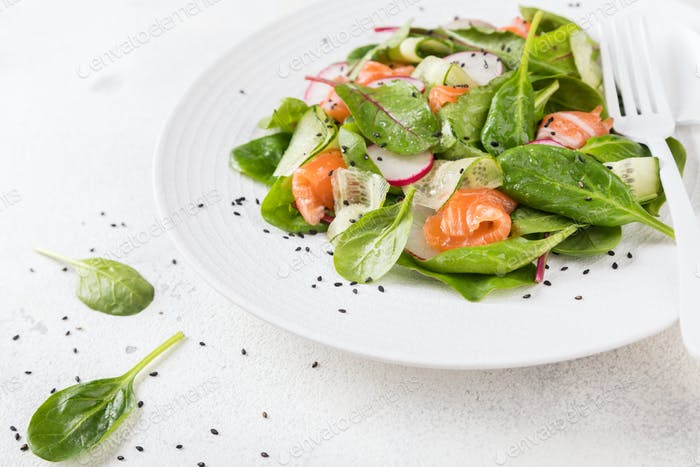 Salmon Salad with Vitamins in vegetables, herbs radish,and spinach