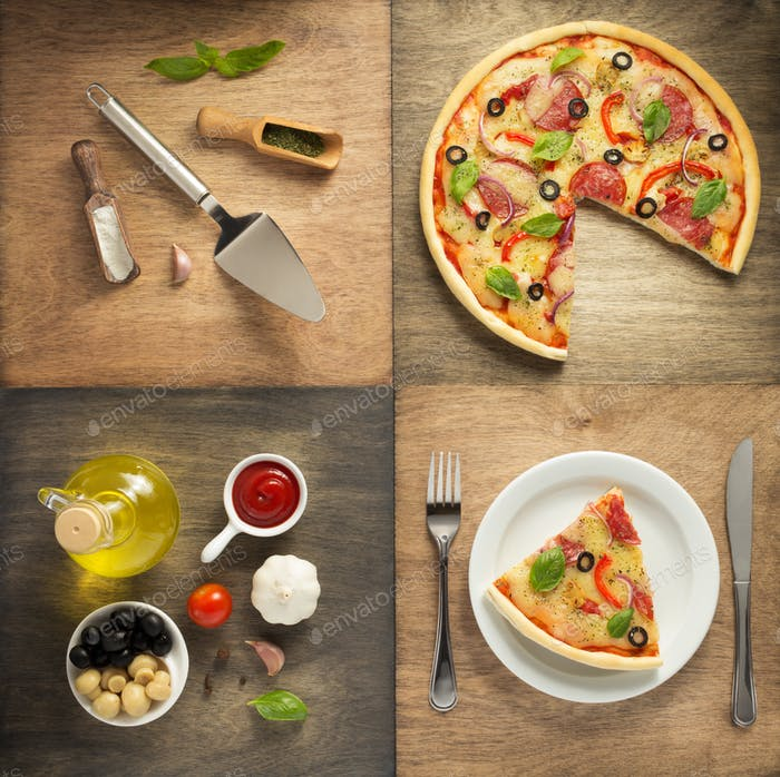 sliced pizza at plate and food ingredients