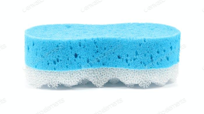 Blue bath sponge on white background