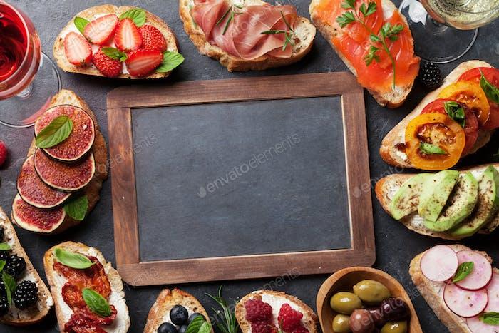 Brushetta or traditional spanish tapas. Appetizers