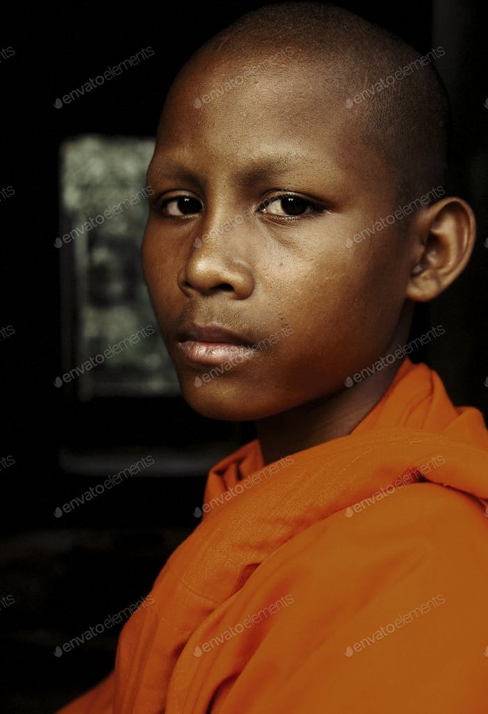 Young Teen Monk Portrait Concept