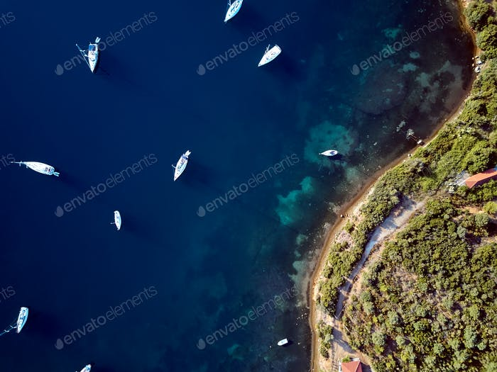 Marina with yachts top aerial view