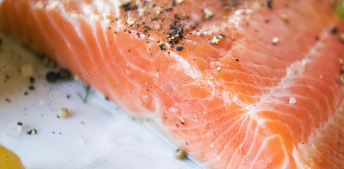 Fresh salmon fillet food photography recipe idea