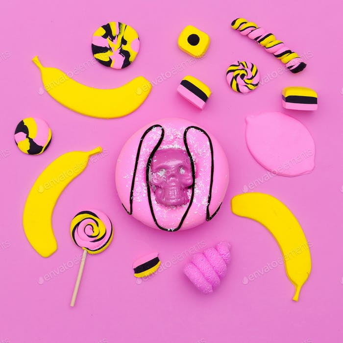 Sweet mix. Donut. Souffle. Candy. Minimal Flatlay art.