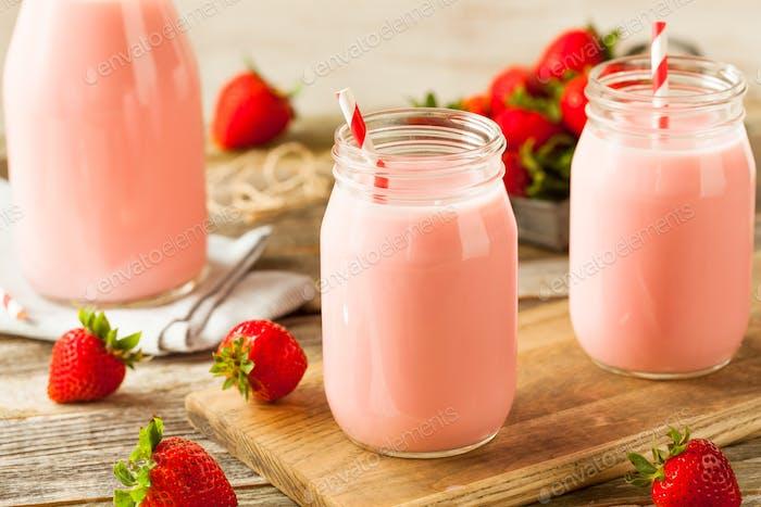 Homemade Organic Strawberry Milk