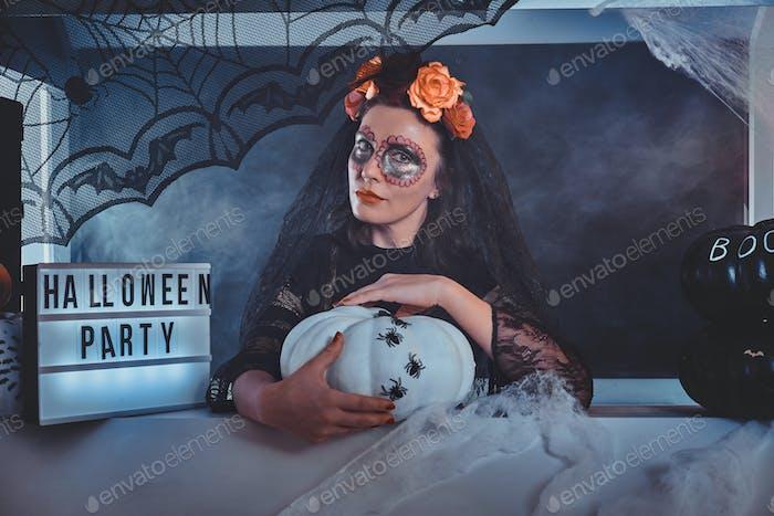 Portrait of woman in dark bride role