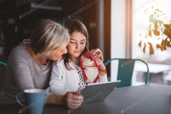 A small girl and grandmother with tablet at home.