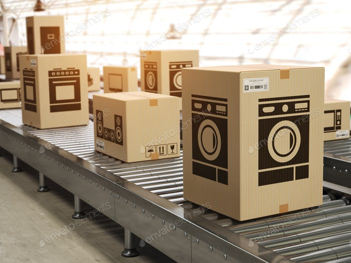 Household appliance in cardboard boxes on conveyor roller in dis