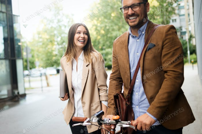 Portrait of happy business friends enjoying the break from meeting