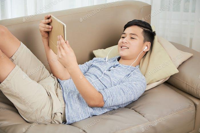 Resting teenage boy