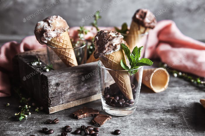 Chocolate ice cream and spring flowers