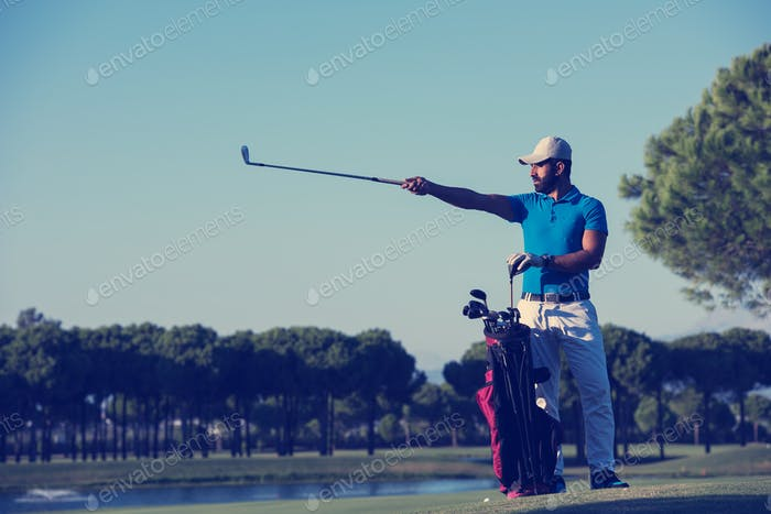 golfer  portrait at golf  course