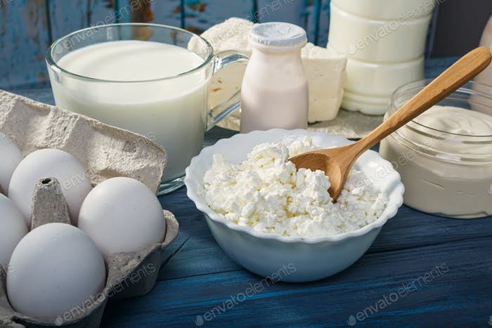 Dairy products on a blue table
