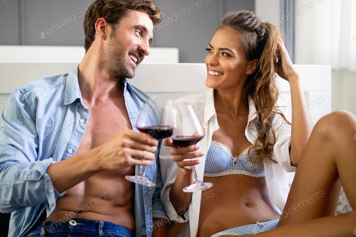 Passion portrait of attractive sensual couple in love