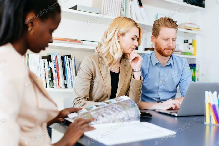 Multiethnic people working in modern office