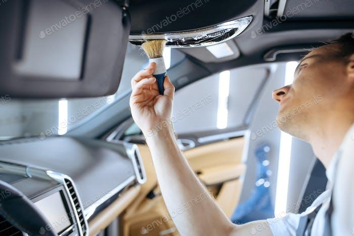 Рабочие салфетки салона автомобиля, детализация