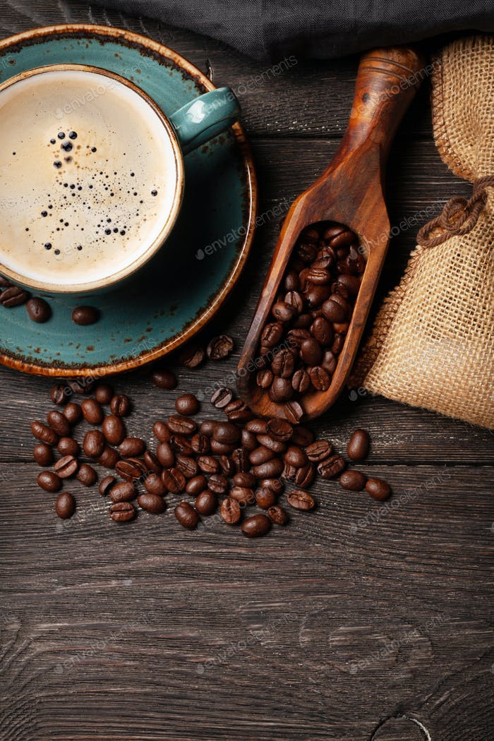 Espresso coffee and roasted coffee beans
