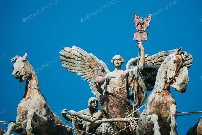 Rome, Italy. Great Bronze Quadriga On Summit Of Palace Of Justice