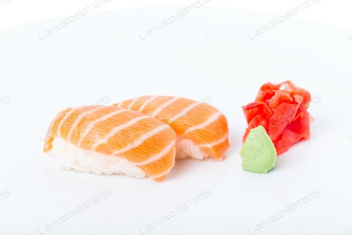 Traditional salmon nigiri sushi.