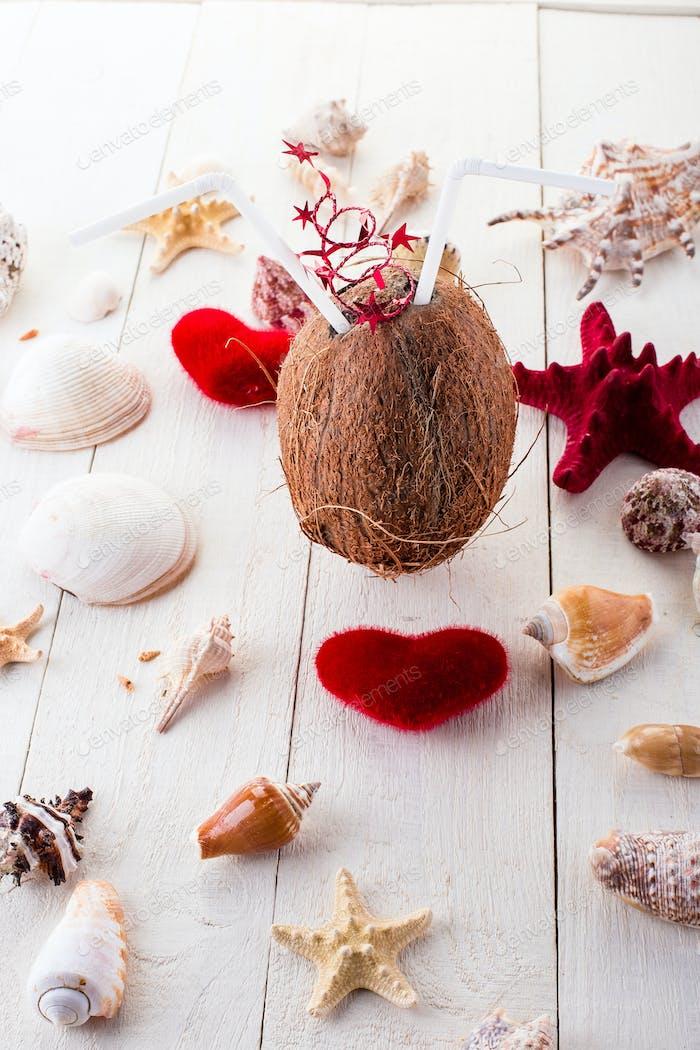Coconut cocktail. Valentine day.