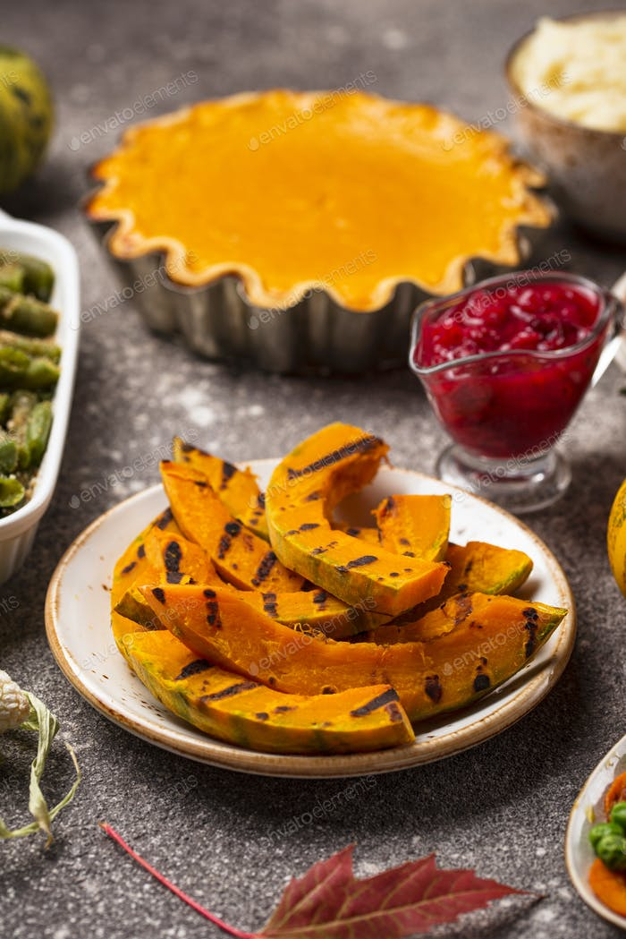 Grilled pumpkin. Thanksgiving Day food