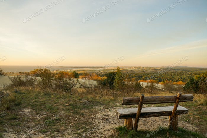 Countryside With River and Wooden Bench, Poland, Curonian Spit