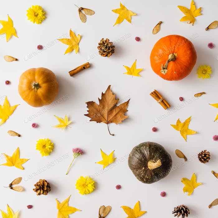 Colorful autumn pattern made of pumpkins, leaves and flowers.