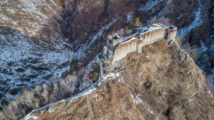 ruined Poenari fortress in winter, Romania
