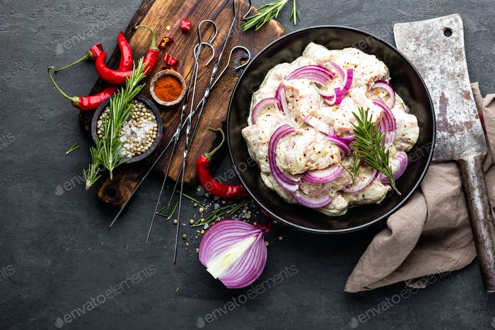 Shashlik mariniert für Grill