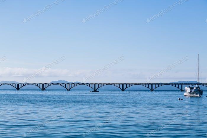 Long sea bridge in Samana