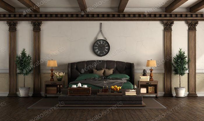 Retro style master bedroom with leather double bed