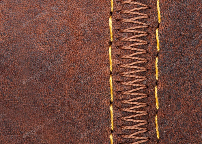Thread seam on leather