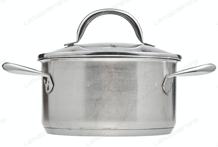 small stainless steel pan covered by glass lid